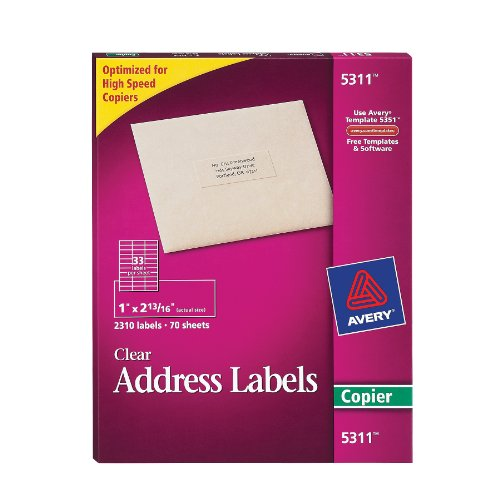Avery Self-Adhesive Address Labels for Copiers, Clear, 1