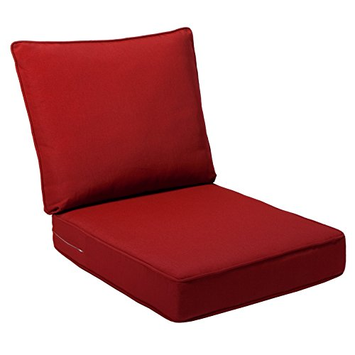 Replacement Seat Cushions - Quality Outdoor Living All Weather Deep Seating Patio Chair Seat and Back Cushion Set, 23-Inch by 26-Inch, Red (Pack of 2)
