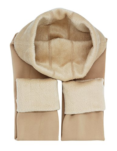 CHRLEISURE Women's Winter Thick Velvet Leggings Warm Solid Color Elastic Pants - Colors Warm Skin