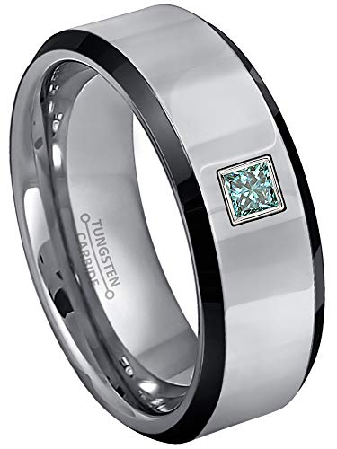 0.10ctw Solitaire Princess Cut Blue Diamond Tungsten Ring - 8MM Polished Beveled Edge 2-Tone Tungsten Carbide Wedding Band - April Birthstone Ring - s9 ()