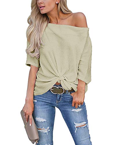 Womens Knot Front Off The Shoulder Tops Waffle Knit Batwing Sleeve Loose Oversized Pullover Shirts Blouse Olive Green Medium