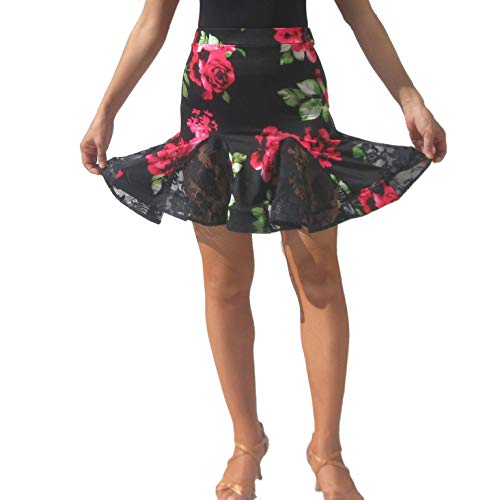 Rose Floral Flare Latin Salsa Tango Square Dance Skirt Costumes with Lace Godets (Skirt Floral Godet)