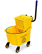 Goplus Commercial Mop Bucket with Side Press Cleaning Wringer, Portable Trolley On Wheels, Ideal for Household and Public Places Floor, Yellow