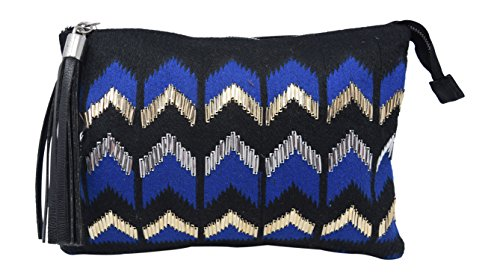 s Evening Clutch With Chevron Beaded Look Zippered Closure and Tassel Fringe Charm ()