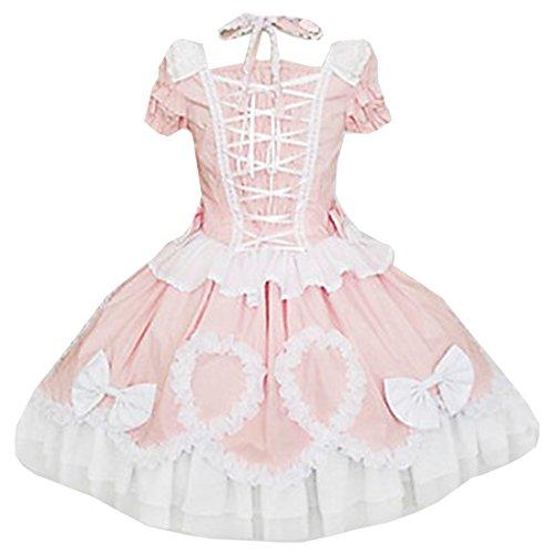 Kleider Damen Tea Stubenmaedchen Sweet Lolita Cosplay Rosa Partiss Prinzessin Kurzarm length RTzdzq