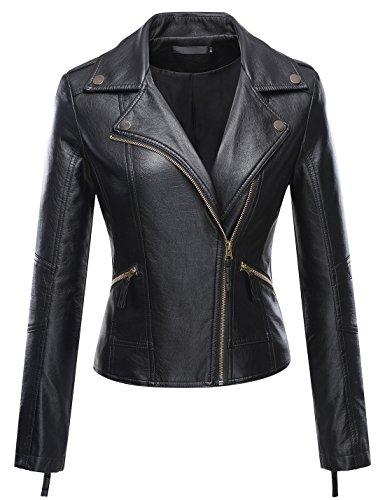 Uaneo Women's Classic Style Moto Faux Leater Jacket Outerwear (Small, Black) Black Rivet Leather Jacket