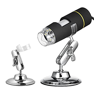 Microscope, KKmoon 1000X Magnification USB Digital Microscope with OTG Function Endoscope 8-LED Light Magnifying Glass Magnifier with Stand