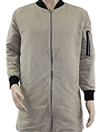 Mens Thin Brave Harrington Long MA1 Bomber Jacket Army Military Finnish Trench