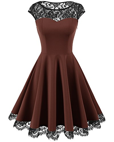 Homrain Women's Vintage 1950s Floral Lace Scoop Neck Cap Sleeve Cocktail Party Dress Brown L