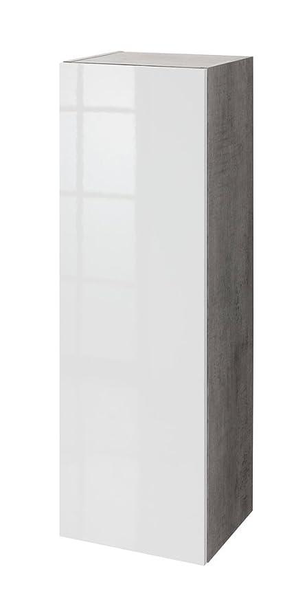 Pensile colonna soggiorno color cemento con anta laccata bianca ...
