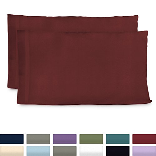 Cosy House Collection Luxury Bamboo Standard Size Pillowcases - Burgundy Pillowcase Set of 2 - Ultra Soft & Cool Hypoallergenic Natural Bamboo Blend Cover - Resists Stains, Wrinkles, Dust -