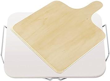 Leifheit Pierre Square - Bandeja de Pizza Cuadrada de cerámica, 38x30x2.5 cm, Color Blanco y Beige