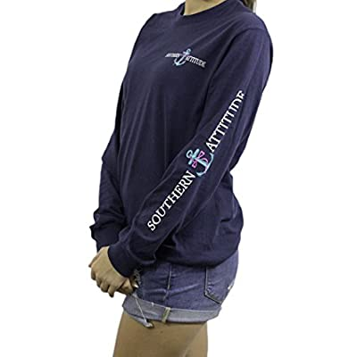 Southern Attitude Salty Anchor Navy Blue Preppy Long Sleeve Shirt at Women's Clothing store
