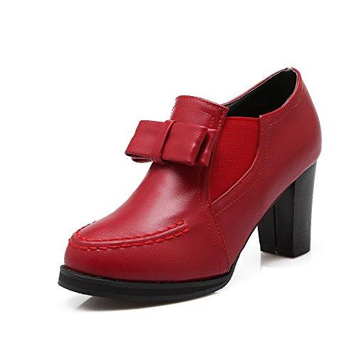 Pumput kengät Pu Korkokengät Punainen Yksilankaista Toe Vetoketju Amoonyfashion Suljettu Naisten A0qUqwB