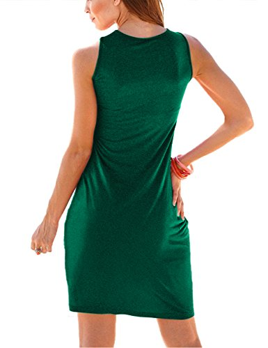 Summer Traleubie Length Women's Sun Sleeveless Long Dresses Sleeve Casual Knee green Z5 Pleated Tank FnwE8wqRrS