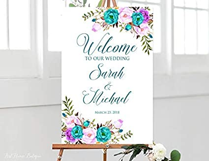 Amazon Com Restore2a Welcome Wedding Sign Teal And Purple