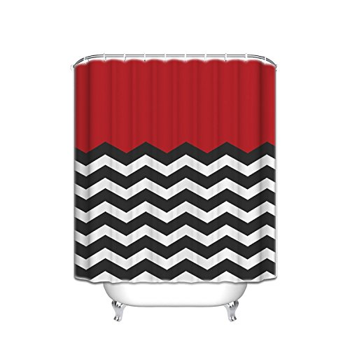 red black white shower curtain - 3