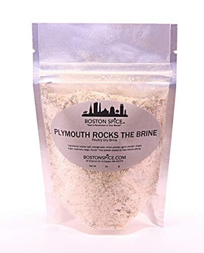 Boston Spice Plymouth Rocks The Brine Dry Seasoning Brining Blend For Turkey Chicken Duck Quail Fowl Poultry Thanksgiving Christmas No Water Needed No Mess (Approx 1/4 Cup of Spice)