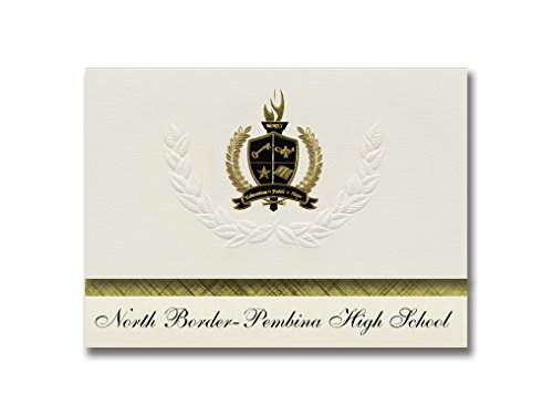Metallic Gold Border Invitation (Signature Announcements North Border-Pembina High School (Pembina, ND) Graduation Announcements, Presidential style, Basic package of 25 with Gold & Black Metallic Foil seal)