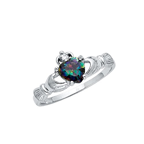 Wellingsale Ladies 925 Sterling Silver Polished Rhodium Rainbow Topaz Heart CZ Irish Celtic Claddagh Ring, AAA Grade Highest Quality - Size 6