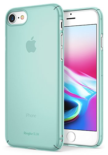 Ringke SLIM- Funda iPhone 7 / iPhone 8, Ajuste en el Mango Ultra-Delgado de Fluido Borde Curvado la Piel Funda de la Caja Protectora Ligera, Revestimiento Duradero de PC - Rose Gold Frost Mint