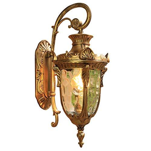 DAWANG Outdoor Wall Sconce, Exterior Wall Mount Lighting Fixture, Patio/Porch Lantern Light Fixtures,Vintage Outdoor Wall Lantern Aluminum HousingDecoration,Gold