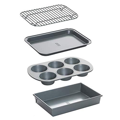 Chicago Metallic 8044 Non-Stick 4-Piece Toaster Oven Bakeware Set, Set of 1 (1 Unit)