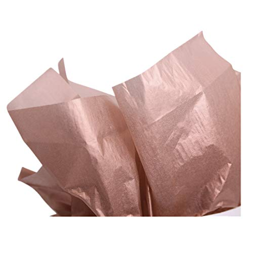 UNIQOOO 40 Sheets Premium Metallic Tissue Gift Wrap Paper Bulk Rose Gold, Great for Gift Bag, 20