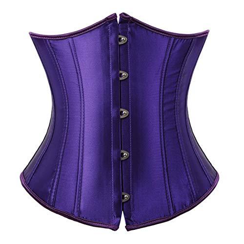 Plus Size Satin Corset - Women's Satin Underbust Corset Bustier Waist Training Cincher Plus Size Large Violet