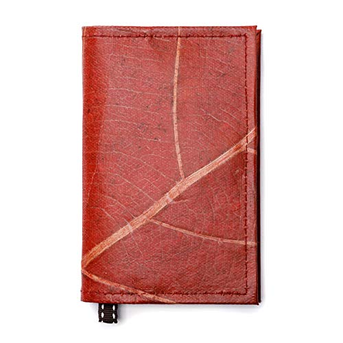 Leaf Leather Notebook Refillable Nature Journal with Page Marker - Handmade - - Earth Journal Friendly