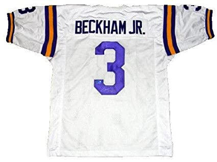 purchase cheap 3c8a5 6c5ee Odell Beckham Jr. Signed Jersey - #3 White Coa - Autographed ...