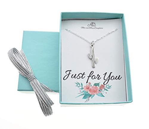 Girl's, Teen's, Women's Cactus necklace in sterling silver on an 18