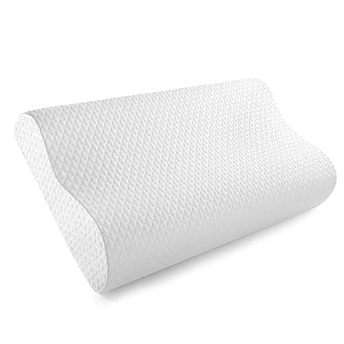JSHANG Memory Foam Contour Bed Pillow for Sleeping with Tencel Cover,Side Sleeper Pillow with Ventilated Memory Foam,Cervical Pillow for Neck Pain, Neck Support for Back