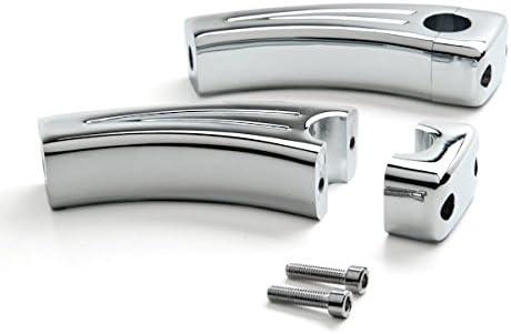 Krator XH6014-772 Motorcycle Handlebar 7//8 Inch Bars Custom Universal Risers 4.5 Rise Chrome