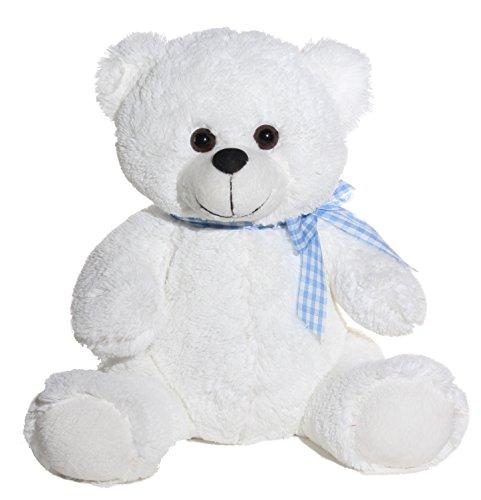 Calplush Cuddly White Bear with Blue Bow Tie Plush - 7