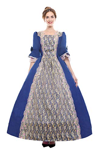 ROLECOS Womens Royal Vintage Medieval Dresses Lady Satin Gothic Masquerade Dress Blue ()