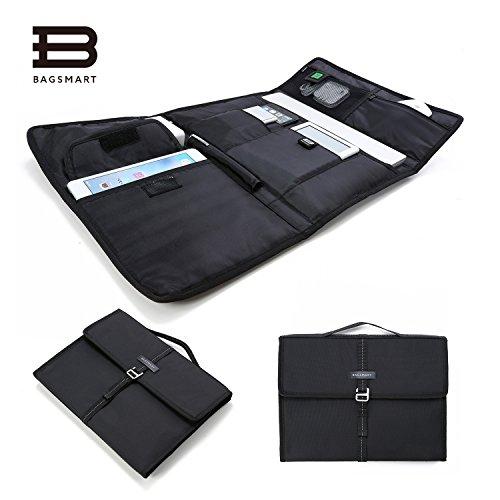 Laptop Ipad Briefcase (BAGSMART Portable Slim Laptop Briefcase Travel Electronics Case & Laptop Bag for 13'' MacBook pro, MacBook Air, Black)