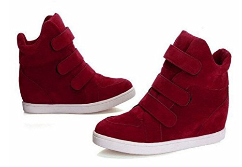 T&Mates Womens Comfort Velcro Round Toe Hidden Wedge Heel High Top Fashion Sneakers Red 78x7JH