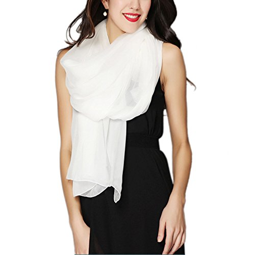 (Aoli's Fashion Women's Solid Color Soft Large Mulberry Silk Scarf Wrap (White) )