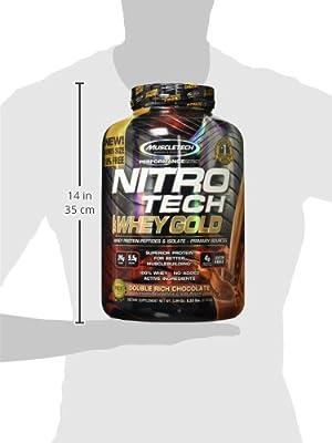 MuscleTech Nitro Tech 100% Whey Gold Muscle Building Powder, Chocolate, 6 Pound