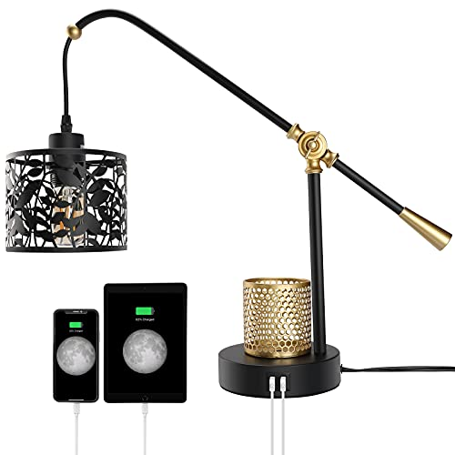 Txlovest Lyming 3-Way Dimmable Industrial Touch Control Table Lamps with Glass Shade, Pen Holder, 2 USB Ports & AC Outlet, E26 40W 5000K Daylight White Edison Bulbs Included, Ideal for Bedroom Office