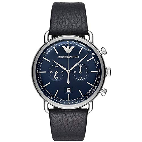 Emporio Armani Men's 'Dress' Quartz Stainless Steel and Leather Casual Watch, Color:Blue (Model: ()