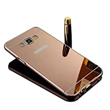 Samsung Galaxy Grand Prime G530 Case,Shinetop Mirror Case - Luxury Metal Aluminum Bumper Frame Detachable Bling Mirror PC Hard Back Case Cover Slim Fit Shock-Absorption Protective Skin Shell-Rose Gold