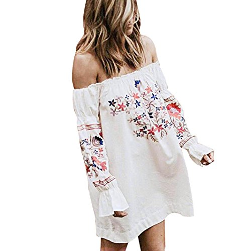 Print Dress,Han Shi Womens Fashion Floral Off Shoulder Beach Party Mini Skirts Straight (L, White)