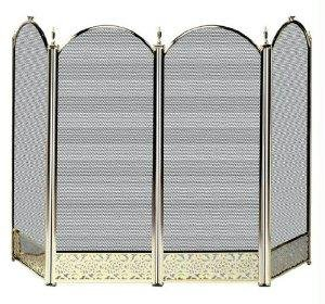 (UniFlame S-2115 4 Fold Polished Brass Fireplace Screen with Decorative Filigree)