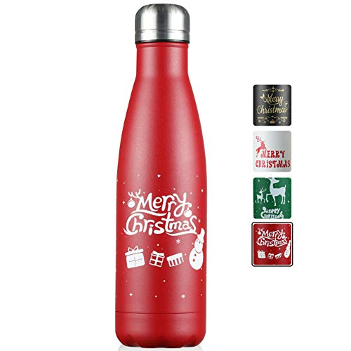 JEAREY Christmas Water Bottle 17oz Stainless Steel BPA Free Leak Proof Cola Shape Flask Kids Thermoses for Sports Travel Outdoor Gift (Red)