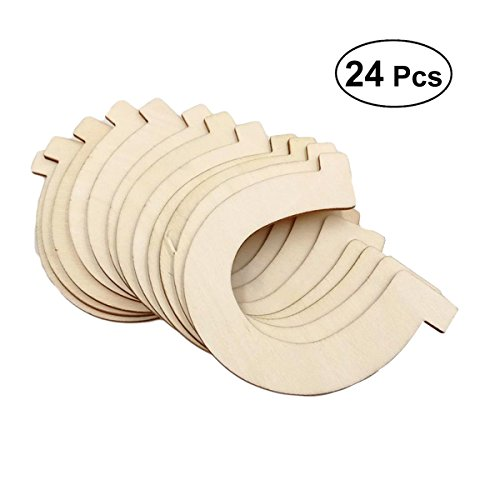 Healifty 24pcs Wood Discs Slices Horseshoe Shape Unfinished Wooden Cutouts Craft DIY Decoration