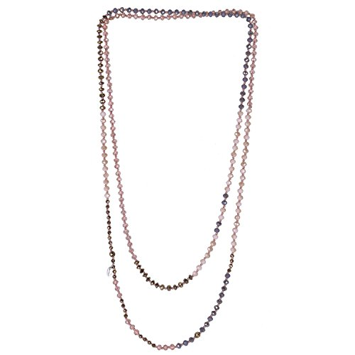 (KELITCH Long Strand Necklace Vintage Faceted Crystal Beaded Necklace for Women Statement Style (Pink 11F))