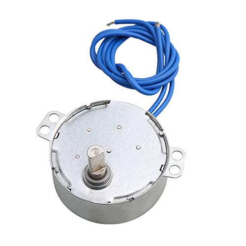 CNBTR Silver Metal AC110V Single Flat Shaft Turnable Synchronous Motor 5-6RPM 4KGF.CM Torque Electric Toy Fan Air Conditioner DIY Accessory