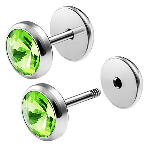 (BIG GAUGES Pair Surgical Steel 16g Gauge 1.2mm 1/4 (6mm) Fake Plugs Peridot Crystal Piercing Jewelry Illusion Cheater Ear Lobe BG2740)